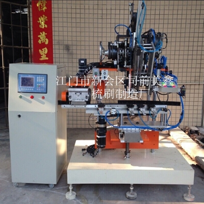 Two-axis brush-drill-flattening machine